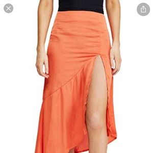 NWT Free People Lola Slit Ruffled Midi Skirt